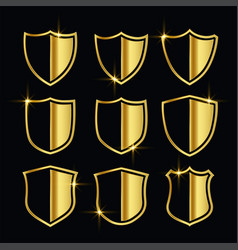 nice golden security symbols or shield icons set vector image