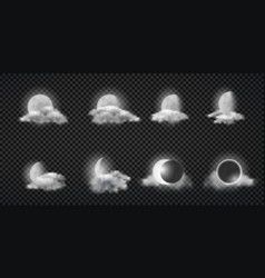 Night weather forecast icons realistic set vector