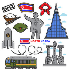 North korea travel famous landmarks culture vector