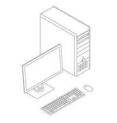 Outline of the computer with a monitor keyboard vector