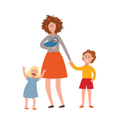 parenting problem big family tired parents vector image