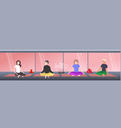 people sitting lotus pose men women practicing vector image