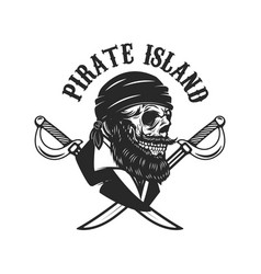 pirate skull with crossed sabers design elements vector image