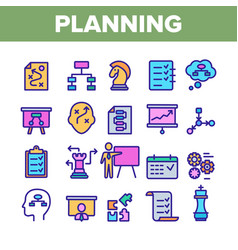 Planning color elements icons set vector