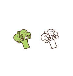 raw broccoli linear icon fresh organic vector image