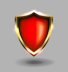 red and gold shield icon on grey background green vector image