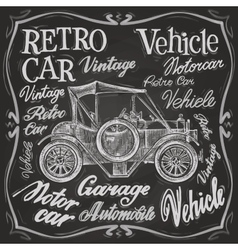 retro car logo design template vehicle vector image