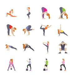 routine exercises flat icons vector image