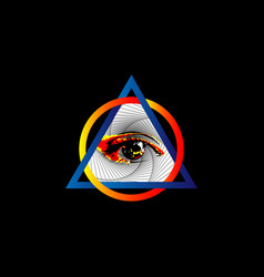 Sacred masonic symbol all seeing eye colorful logo vector