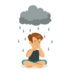 Sad boy character sitting under stormy rainy vector