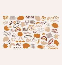 set abstract organic art style shapes vector image