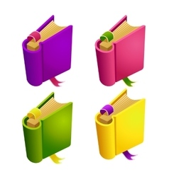 Set of cartoon different color book vector