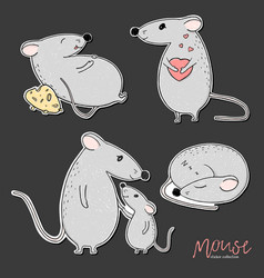 Set stickers with funny mice hand-drawn vector