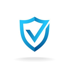 Shield with check mark badge logo Secure is ok vector