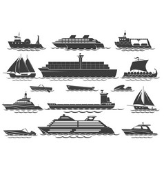 Silhouette vessels vector