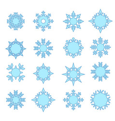 snowflake winter set blue isolated icon vector image