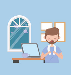 Stay at home bearded man with laptop and coffee vector