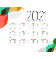 Stylish colorful 2021 new year modern calendar vector