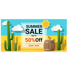 Summer sale background with cactus in desert vector