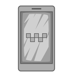 Taxi app in phone icon gray monochrome style vector