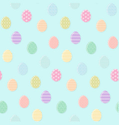 tender blue pattern with colorful easter eggs vector image