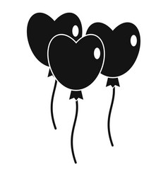 Three balloons in the shape of heart icon vector