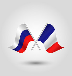 two crossed russian and french flags vector image