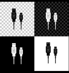 Usb micro cables icon on black white and vector