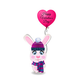 valentines card with cute rabbit in knitted hat vector image