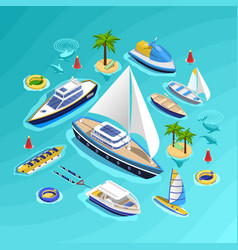 Water transport isometric collection vector