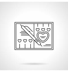 Wedding invitation flat line icon vector image