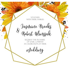 Wedding invitation invite card design with orange vector