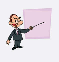 White businessman with glasses points out angry vector