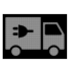 white halftone electric car icon vector image
