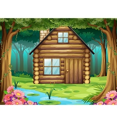 Wooden hut in the forest vector