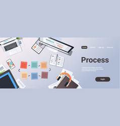 working business cyclic arrows process top angle vector image