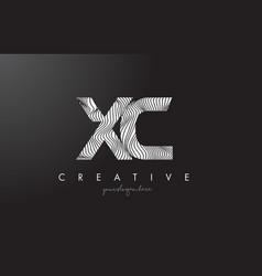 Xc x c letter logo with zebra lines texture vector