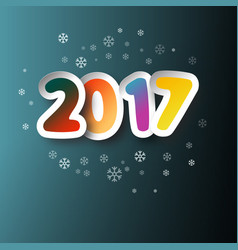 2017 colorful paper cut two thousand seventeen vector image vector image