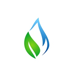 abstract ecology water and leaf logo vector image vector image