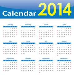 calendar 2014 popular template on isolated backgro vector image vector image