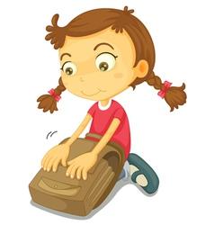 Girl Packing School Bag vector image vector image