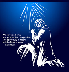 jesus christ the son of god praying in the garden vector image vector image