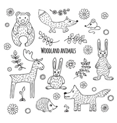 Set of black and white tropical animals vector