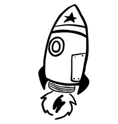 simple black and white rocket vector image
