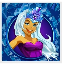 Beautiful lady Queen with crown cartoon character vector image