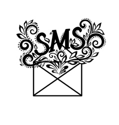 black-and-white logo envelope sms in floral style vector image