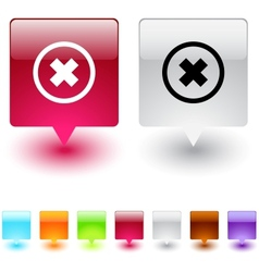 Delete cross square button vector image vector image