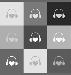 headphones with heart grayscale version vector image vector image