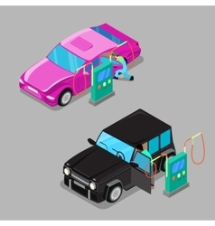 Isometric Car Cleaner Station Driver Cleaning Car vector image vector image