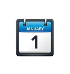 January 1 Calendar icon flat vector image vector image